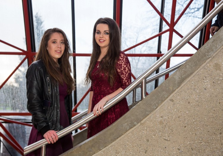 Attending the scholarship ceremony in the University of Limerick were scholarship recipients, Nollaig Blake, Doonbeg Co. Clare and Aisling Lyons, St. Patricks Comprehensive, Shannon Co. Clare. Picture: Alan Place