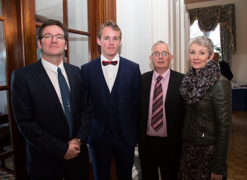 Attending the scholarships ceremony were, Ronan Dillon, Microsemi Ireland with Eoin Callinan, Microsemi Scholarship Recipient, Kevin and Monica Callinan. Picture: Alan Place.