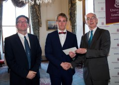 Ronan Dillon, Microsemi Ireland and Professor Paul McCutcheon, Vice President Academic & Registrar of the University of Limerick presented Microsemi Scholarship Recipient, Eoin Callinan with his scholarship. Picture: Alan Place.