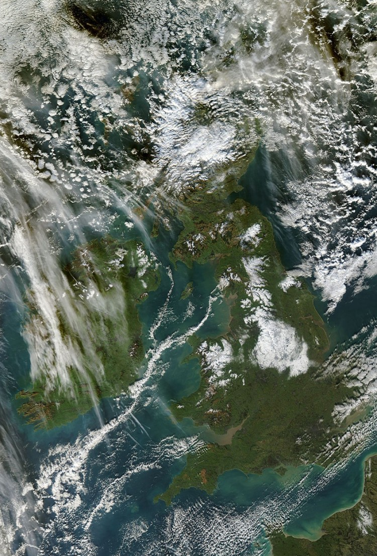 Ireland and Britain as seen from space by the MODIS satellite. Snow cover visible