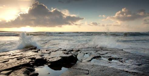 Waves breaking on the Black Rocks at Spanish Point. Photo Ann O'Connell Images