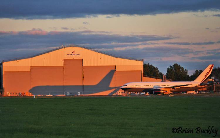 A mid east jet, b767 vp-cme, and its twin at the Transaero Hangar in Shannon. Photo Brian Buckley
