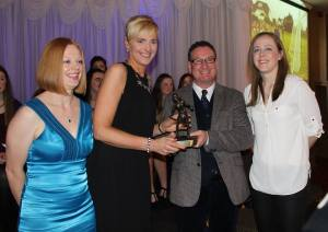 Audrey McMahon receives her Volunteer of the Year award. Courtesy Clare Camogie.