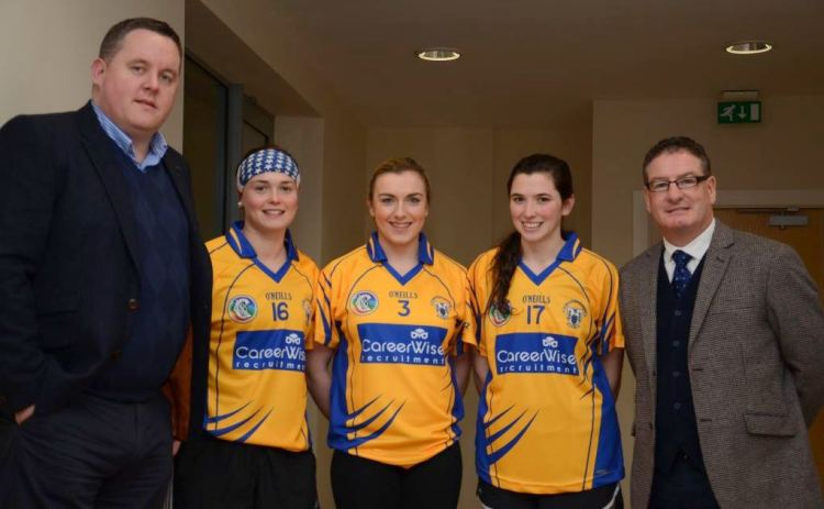 Pictured at the sponsorship unveiling (L-R):Fearghal Keane (Senior Recruitment Officer CareerWise Recruitment), Chloe Morey, Kate Lynch, Carol O'Leary and Joe Robbins (Clare Camogie Chairperson).