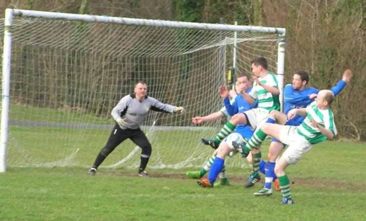 Action from yesterday's clash between Ennis Town and Bridge Celtic