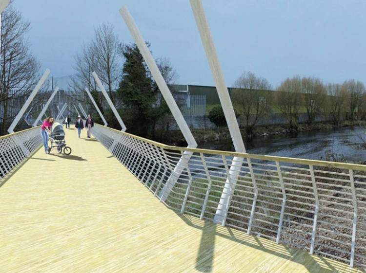 Visualisation of a Pedestrian Bridge  linking Francis Street and New Road as featured in the Draft Ennis and Environs Local Area Plan 2015-2021, published by Clare County Council