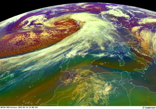 This EUMETSAT image from 11pm on Wednesday shows Storm Rachel located to the northwest of Ireland and Britain