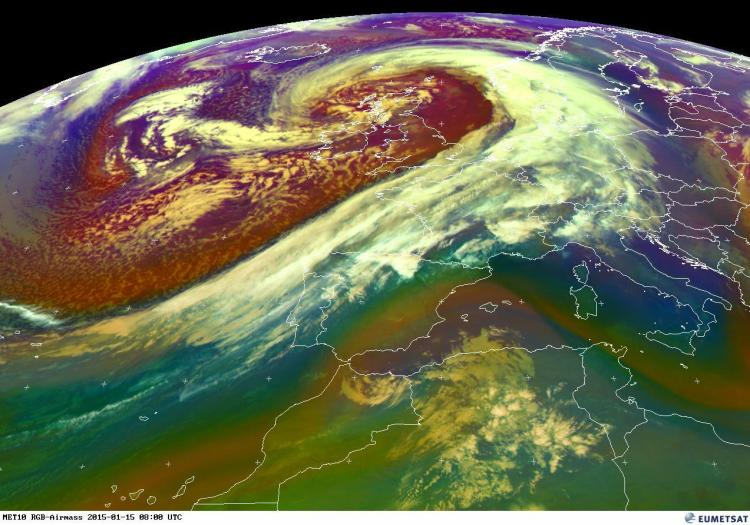 This EUMETSAT image from Thursday morning shows Storm Rachel located to the northwest of Ireland and Britain