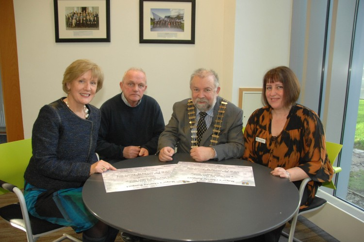 Pictured at the launch of the Mayor's Charity Banquet 2015 were Aineis Brock, Fundraising, Carrigoran Day Care Centre; Cllr. John Crowe, Cathaoirleach, Clare County Council; Willie McGrath, Chairman, West Clare Mini Marathon Cancer Care Centre; and Valerie Vaughan, Chief Executive, Carrigoran Day Care Centre. Missing from picture is a representative of Slainte an Chláir, one of the other recipients of proceeds raised by the upcoming Charity Banquet. PIC CREDIT: Terry O'Brien
