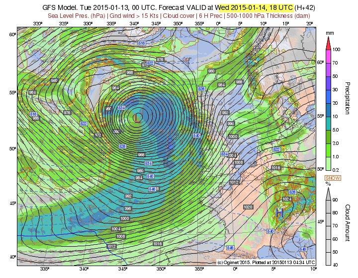 Tomorrow's storm system. Image ogimet.com
