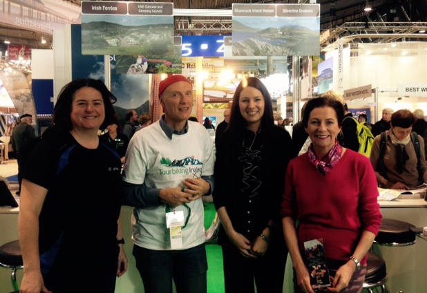 Janet Cavanagh, Clare Tourism Forum; Liam Bairéad, Tourbiking Ireland (based in Ballina, Co Mayo); Eva Burg, Wild Rover Tours; and Deirdre McGlone, Harvey's Point Hotel, Donegal, on the Tourism Ireland stand at CMT in Stuttgart.