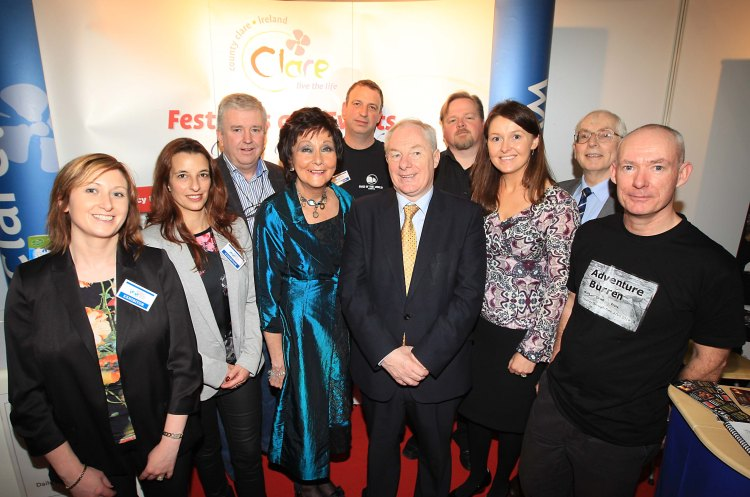 Clare tourism representatives pictured with Minister for Tourism Michael Ring (centre) at the Holiday World Show in Dublin at the weekend. Also pictured (left-to right) Lisa Glynn and Liz Sena from Clare Coast Hotels; Maurice Walsh, Durty Nellys; Maureen Ledwith, Holiday World Show; Luke Ashton, Loop Head Peninsula; Martin Waldron, Burren Ecotourism Network, Maureen Cleary, Clare Tourism; Séamus  Mac Mathúna, Music Makers of West Clare; and Christy Sinclair, Burren Adventures.