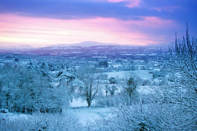 A beautiful snow sunrise in East Clare earlier this month. Pic Arthur Ellis.