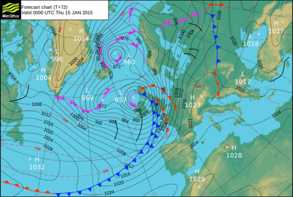 UKMO forecast shows low pressure pushing east across Ireland. Forecasters and the media are already referring to the weather system as Storm Rachel.