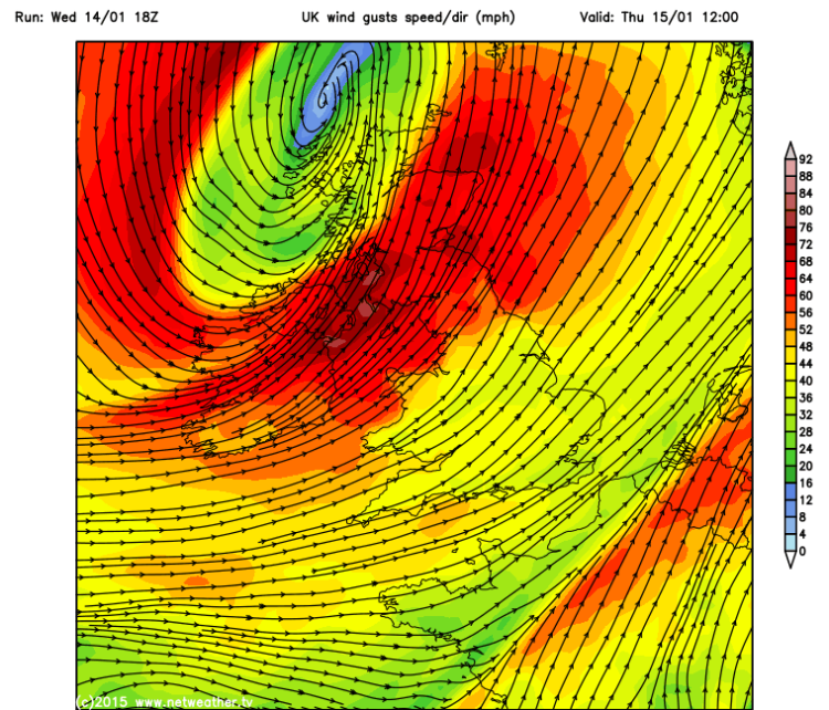 GFS (latest model run) showing some of the strongest winds for Ireland will not arrive until midday tomorrow. image netweather.tv