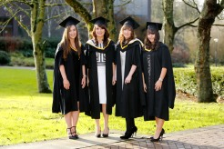 Michaella Lynch, Bandon, Co. Cork, Ann Marie Reidy, Ballyheigue, Co. Kerry, Carla Brown, Cobh, Co. Cork and Vivienne McNamara, Newmarket on Fergus, Co. Clare who graduated with Masters in International Management and Global Business. Picture: Don Moloney / Press 22
