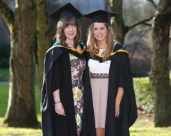 Cathy Moynihan, Ennis, Co. Clare and Aine Campbell, Athlone who graduated with Masters in Arts and Psychology. Picture: Don Moloney / Press 22