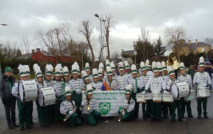 A High School Band from Phoenix, Arizona line up on New Road for the Ennis St Patrick's Day Parade
