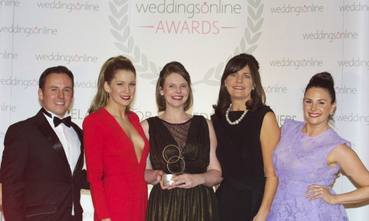 Susie Conroy, Marita Morrissey and Fiona Buckley-Kitt from The Armada Hotel who won Venue Co-Ordinator of the Year, Website of the Year, Waterside Venue of the Year and Overall Venue of the Year pictured in The Royal Marine Hotel, Dun Laoighaire, Co Dublin, Monday 16 February 2015 with Jonathan Bryans (weddingsonline.ie) and Lisa Cannon of Xpose.