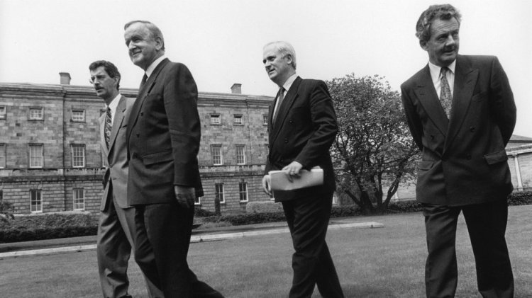 Des O'Malley (RIGHT) pictured with Dick Spring, Albert Reynolds and John Bruton