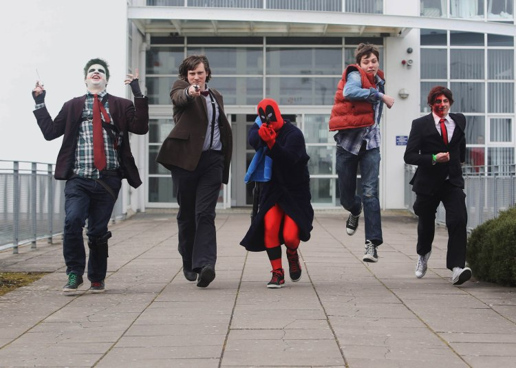 LIT Thurles students Mark Nemec (The Joker), James Walsh (The Doctor), John O Bruachaill (Deadpool), Barry Mullane (Marty McFly) and Shane Hayes (Twoface) pictured outside LIT Thurles, which hosts Games Fleadh 2015 on March 11th. Pic Brian Arthur / Press 22