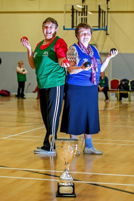 Teresa Danagher,Kilrush and Helen Flanagan, West Clare taking part in the Go For Life Games at Inagh Community Centre.The overall aim of Go for Life is to get older people more active, more often. The aim of the Go for Life Games is to involve older people in recreational sport. The games are run with the support of Clare Sports Partnerships and the HSE..Pic Arthur Ellis.