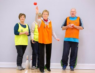 L-R Delores Smith, Ellie Hinsley, Margaret Gillan and Peter Wilcock taking part in the Go For Life Games at Inagh Community Centre.The overall aim of Go for Life is to get older people more active, more often. The aim of the Go for Life Games is to involve older people in recreational sport. The games are run with the support of Clare Sports Partnerships and the HSE..Pic Arthur Ellis.