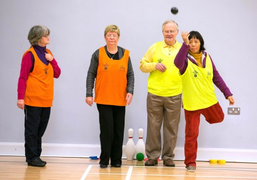 L-R Bridie Salmon, Irene McDonagh, Rolande Hall and Irene Hall taking part in the Go For Life Games at Inagh Community Centre.The overall aim of Go for Life is to get older people more active, more often. The aim of the Go for Life Games is to involve older people in recreational sport. The games are run with the support of Clare Sports Partnerships and the HSE..Pic Arthur Ellis.