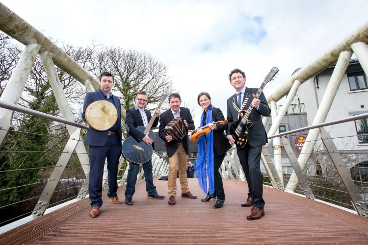 INIS Fest organisers John McCarthy, Darren Purtill, Declan O'Grady and Carmen Cronin with Mayor of Ennis Johnny Flynn pictured at the launch of INIS Fest in January 2015. Pic Arthur Ellis
