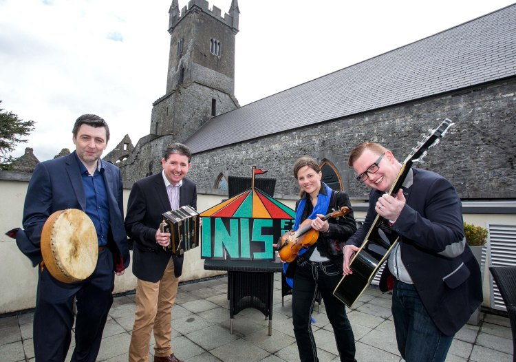 Pictured at the INIS Fest launch are organisers John McCarthy, Declan O'Grady, Carmen Cronin and Darren Purtill Pic Arthur Ellis