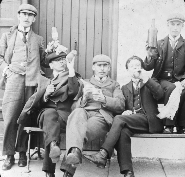Members of the Young Mens Protestant Association enjoying a drink
