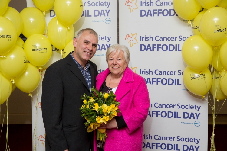 Volunteer Mary McAllistair from Ennis, Co. Clare pictured with Rugby star Tony Ward at the national launch of the Irish Cancer Society's Daffodil Day 2015, supported by Dell.