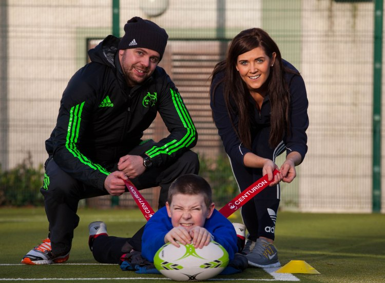 Joining Catherine McAuley student Adam Gray to launch in the event were, Euan Gee, Community Rugby Officer for Munster Rugby and Elaine Shea, Limerick Sports Inclusion Disability Officer. Picture: Alan Place.