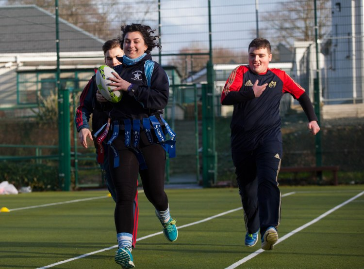 Joining Catherine McAuley students Brian Clancy and Adam Tobin to launch in the event was Kate Nevin, Garryowen RFC. Picture: Alan Place.
