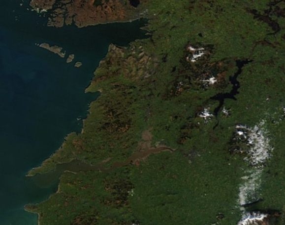 County Clare at midday today. Some lying snow visible over the Sliabh Aughty Mountains and Moylussa. Image NASA/MODIS