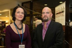Festival Director Liz Kelly and Frank Golden at the Ennis Book Club Festival this weekend. Photograph by Eamon Ward