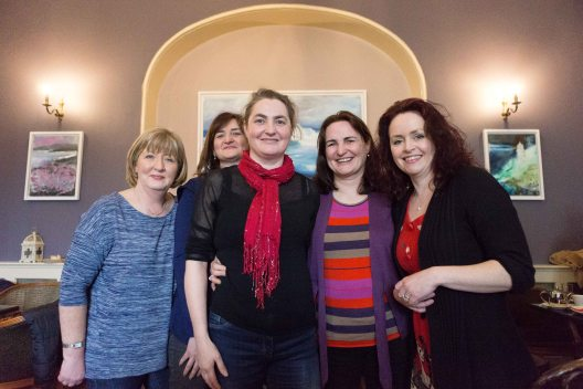 "Maria Cunningham, Mairead Meaney,Delores Meaney,Mary Meaney and Stephanie Woods, winning group at the ""Books and Buns"" quiz at the Rowan Tree as part of the Ennis Book Club Festival this weekend. Photograph by Eamon Ward"