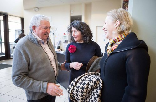 "Former Fianna Fail Minister Brendan Daly who served in two governments with Des O'Mally chatting to Fiona O'Malley and Liz O'Donnell after they took part in the Ennis Book Club Festival Sunday Symposium ""Politics and Pathology"" at Glor ,Ennis on Sunday. Photograph by Eamon Ward"
