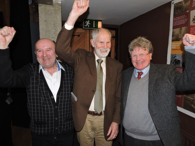 Pictured at An Culturlann, Dublin celebrating Ennis selection to host Fleadh Cheol na hEireann in 2016 were members of the Abbey Branch of Comhaltas ( l to r) Pat Liddy, Frank Whelan and Rory Casey.