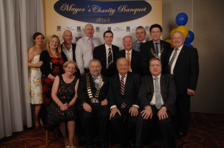 A large group celebrating at the Mayors Charity Banquet. Pictured back row (l to R) Trudy Leyden, Cllr. Mary Howard, Cllr. Paul Murphy, Ger O'Halloran, Cillian Griffey, Cllr. Gabriel Keating, Cllr. Pat Burke; Mayor of Ennis, Cllr. Johnny Flynn, and Cllr. PJ Ryan. Front row (l to r) Geraldine Gregan, Cathaoirleach, Cllr. John Crowe, Danny Moloney who travelled from New York for the event and Deputy Pat BreenT.D. Pic by Terry O'Brien