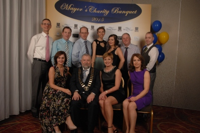 The Centra Retailers in County Clare came together to support fellow Centra retailer in Sixmilebridge Cllr. John Crowe at his Mayor's Charity Banquet in Treacy's West County Hotel. Pictured are Back row (l to r) Paul Ryan, Joe Deasy, Michael Killoury Regional Manager Centra, Siobhan and Zoe Crowe, Barry Lynch and Joe Bracken. front row (l to r) Pamela Deasy, Cllr. John Crowe, Kay Ryan and Dervla Lynch. Pic by Terry O'Brien