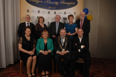 Group enjoying themselves at the Mayors Charity Banquet in Treacy's West County Hotel were Back row ( l to r) Cllr. Michael Begley, Bridie O'Looney, John O'Looney, Pauline Moloney and Tommy Moloney. Front row (l to r)Fidelma Begley, MaryAnn O'Connor, Cllr John Crowe and Syl O'Connor. Pic by Terry O'Brien