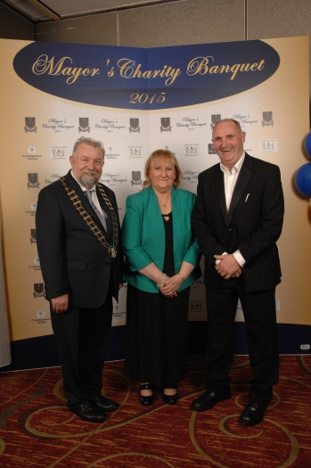 Pictured with Cllr. John Crowe at the Mayor's Charity Banquet were Mary Ann O'Connor and Syl O' Connor who was MC for the event.