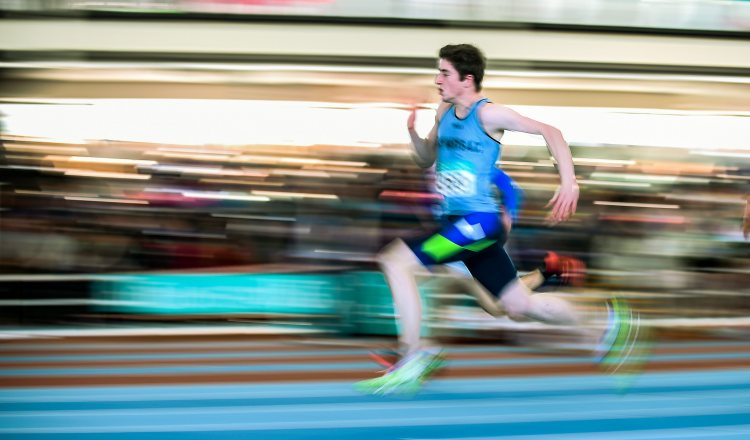 Daragh Miniter, St. Mary's AC, Co. Clare,  on his way to winning the Men's U15 60m Final event during Day two of the GloHealth Juvenile Indoor Track and Field Championships. Athlone International Arena, Athlone, Co.Westmeath.  Picture credit: Pat Murphy / SPORTSFILE