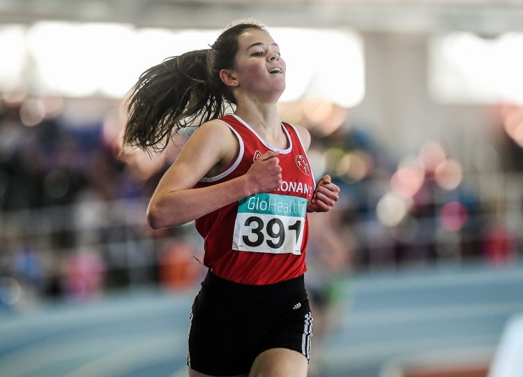Alex O'Neill, St Cronan's AC, after winning the Women's U16 1500m Final event during Day two of the GloHealth Juvenile Indoor Track and Field Championships. Athlone International Arena, Athlone, Co.Westmeath.  Picture credit: Pat Murphy / SPORTSFILE