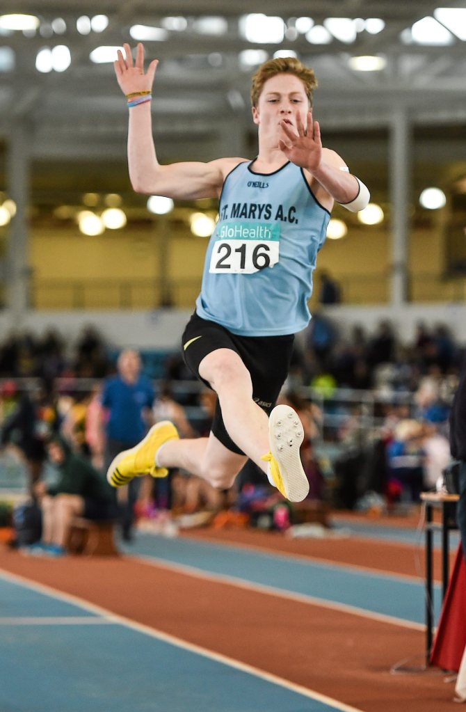 Joseph Miniter, St. Mary's A.C, Clare, in action during day three of the GloHealth Juvenile Indoor Track and Field Championships. Athlone International Arena, Athlone, Co.Westmeath. Picture credit: Ramsey Cardy / SPORTSFILE