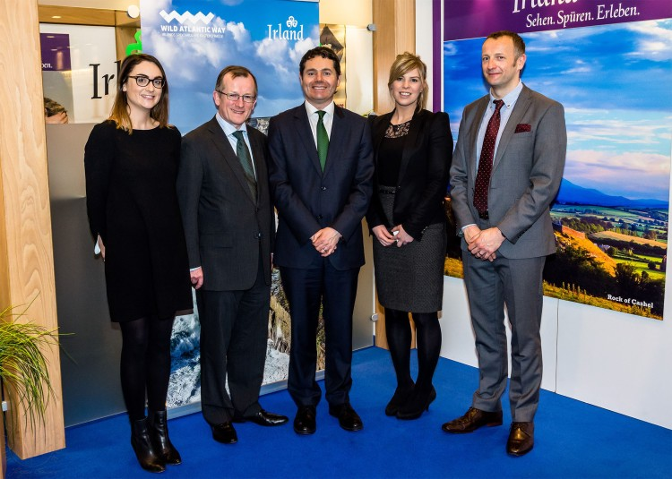 Daire Enright, Guinness Storehouse; Niall Gibbons, CEO of Tourism Ireland; Tourism Minister Paschal Donohoe; Ally Hill, Titanic Belfast; and Brian Nevin, Shannon Group plc, at ITB Berlin 2015.