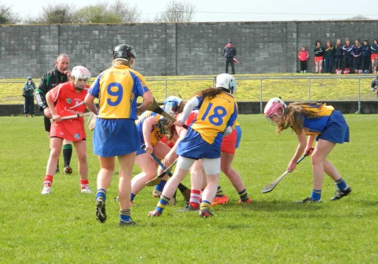 Action from the Clare v Cork minor camogie clash.