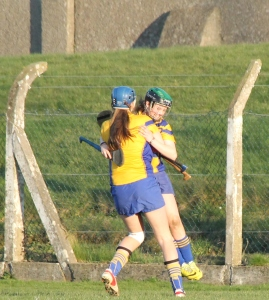 Clare players celebrate at the final whistle.