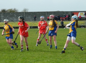 Clare's Corina McMahon gets her shot in.